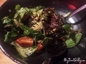 BBQ beef cheek, sticky peanut glaze, cucumber, thai basil