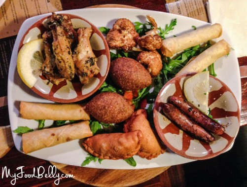 Hot Mezza Sample Platter ($30) - Arnabeet miklee, meat sambousik, cheese cigars, meat cigars, kibkabet, chicken wingettes and Lebanese spicy sausages