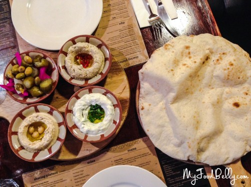 Mixed Dips Sample Platter ($18) - hummous, baba ghannouj, labneh and pickled vegetables with fresh bread