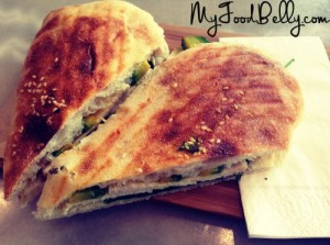 Chicken panini with avocado and cheese