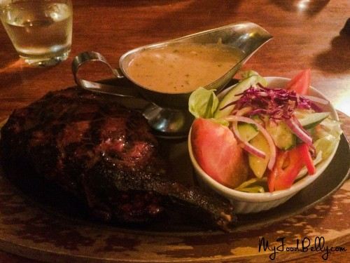 400g Rib Eye on the Bone ($42) with side salad and green peppercorn sauce ($4.50)