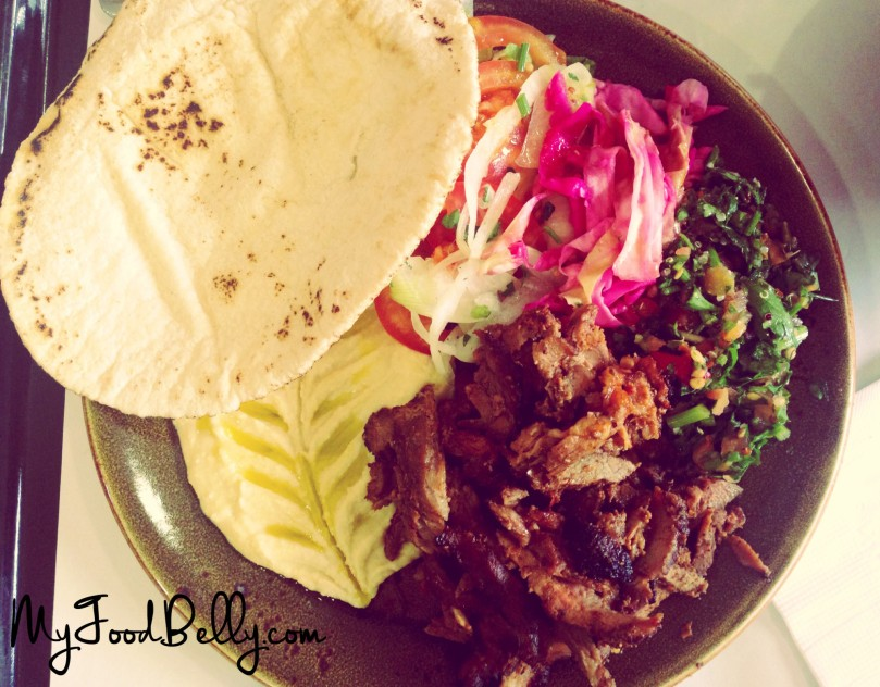 Lamb shawarma and salad plate ($15)