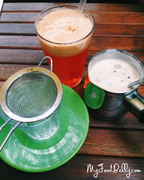 Prana Chai ($5) and Cold Pressed Super Juice ($8.50)
