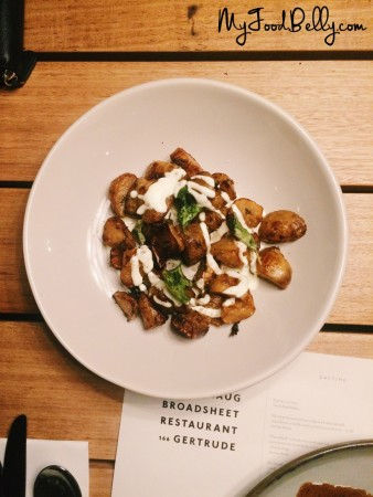 Roasted Jerusalem artichokes, juniper, salt bush and sour cream ($12) - Estelle Bistro