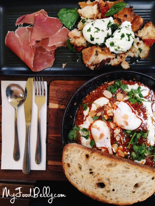 Eggs Panzanella ($19.50) - toasted torn bread, jamon, basil, dehydrated cherry tomatoes and marinated white anchovies with two poached eggs Lamb Cassoulet with poached eggs and sourdough