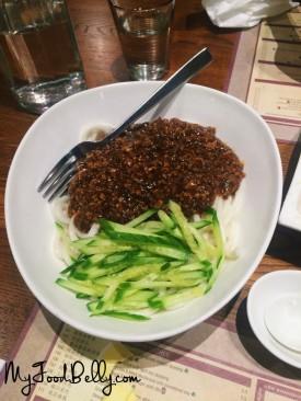 Zha Jian Mian ($10.50) - Noodles with spicy ground pork