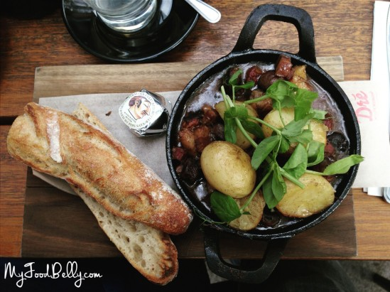 Boeuf bourguignon ($23.00) - slow braised beef brisket, kaiserfleisch, chat potatoes, confit garlic, wild mushrooms, glazed shallots & toasted baguette
