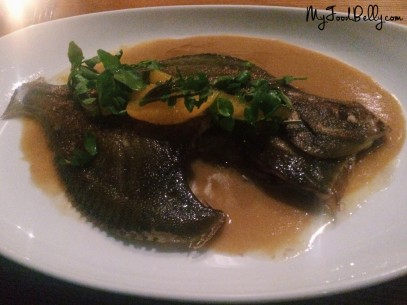 Whole flounder with creamy sauce and orange segments (~$38)