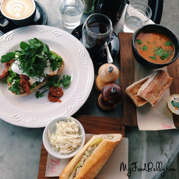 Chorizo & smashed peas ($19.50) - mint, lemon & parsley, chèvre, poached eggs & toasted sourdough • Poached chicken baguette ($7.50 half, $13.50 whole) - apple, capers, cornichons, mayonnaise, witlof & celery • Soup du jour - with toasted sourdough and 'pepe saya' butter