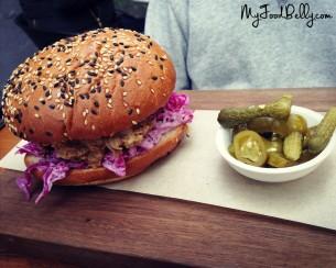 Pulled pork burger ($21.5) - slow braised pork shoulder, bbq sauce, red cabbage & pickles on a brioche bun