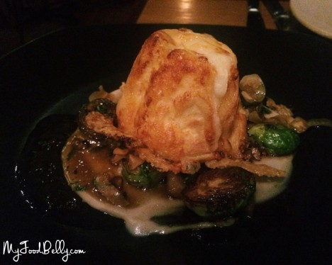 Twice baked gruyere souffle, chestnuts, brussel sprouts, smoked apple ($18.50)
