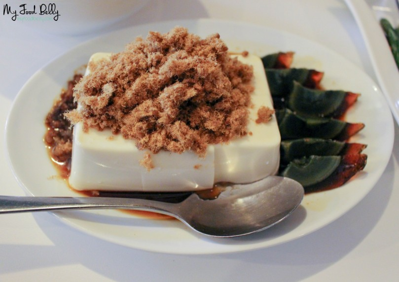 Silken tofu with pork floss and century egg ($8.80)