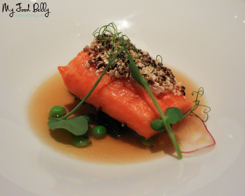 Course 5: Sesame crusted ocean trout, soy noodles, yuzu, ginger, lardo, smoked bacon dashi broth
