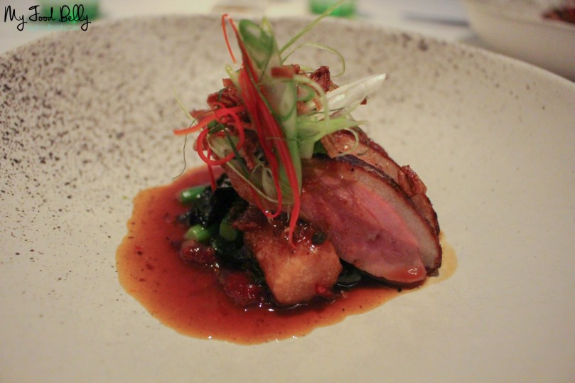 Course 7: Chinese style duck breast, taro dumplings, sichuan peppered yellow bean dressing, asian herb salad