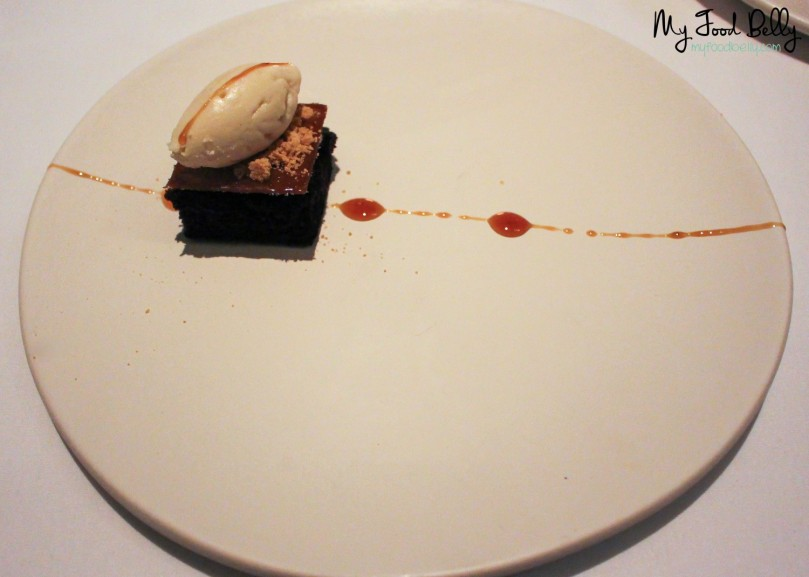 Course 8: Dark coffee cocoa cake, white coffee sabayone, sable, soy caramel, toasted milk ice cream