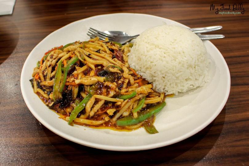 Yu-shiang shredded pork on rice ($10.90)
