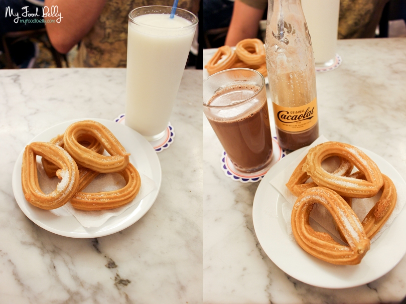 Churros, Cacaolat and Mallorquina